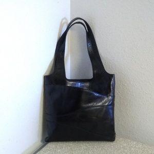 Hlaska Black Leather Tote Bag